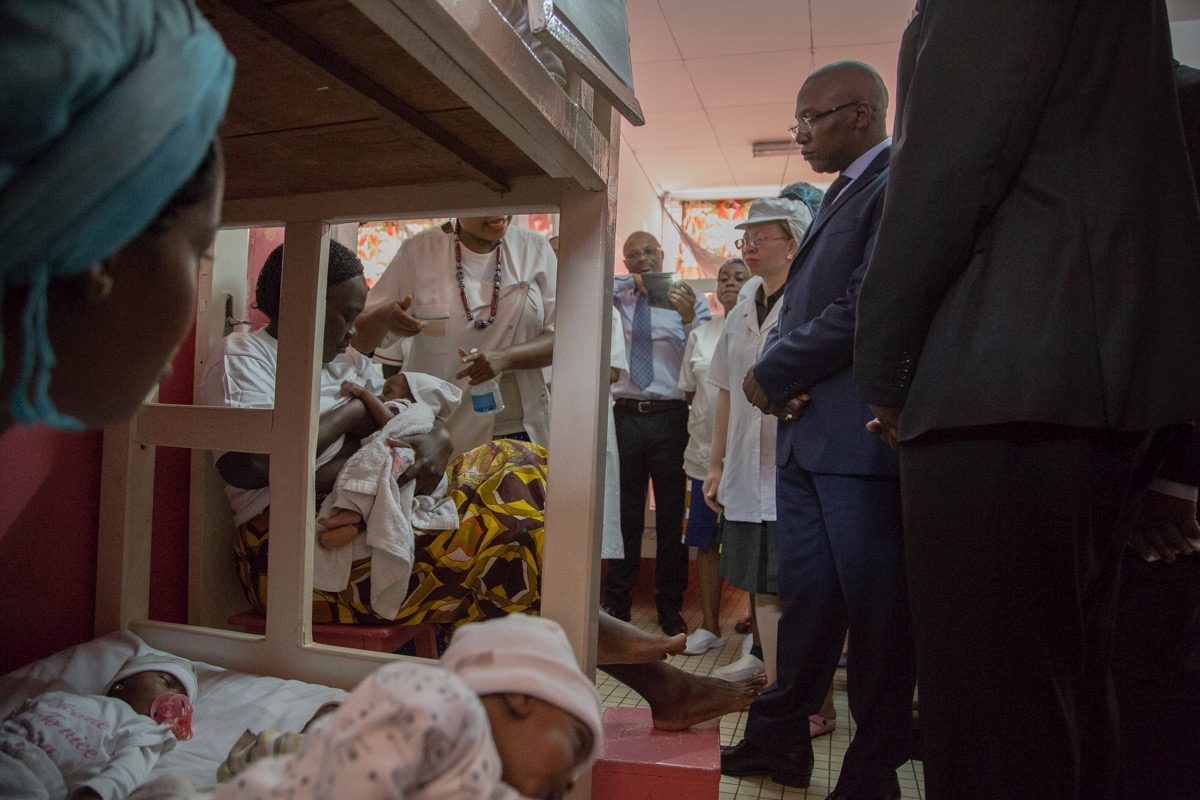 Medics attend newborns at the Yaounde Central Hospital