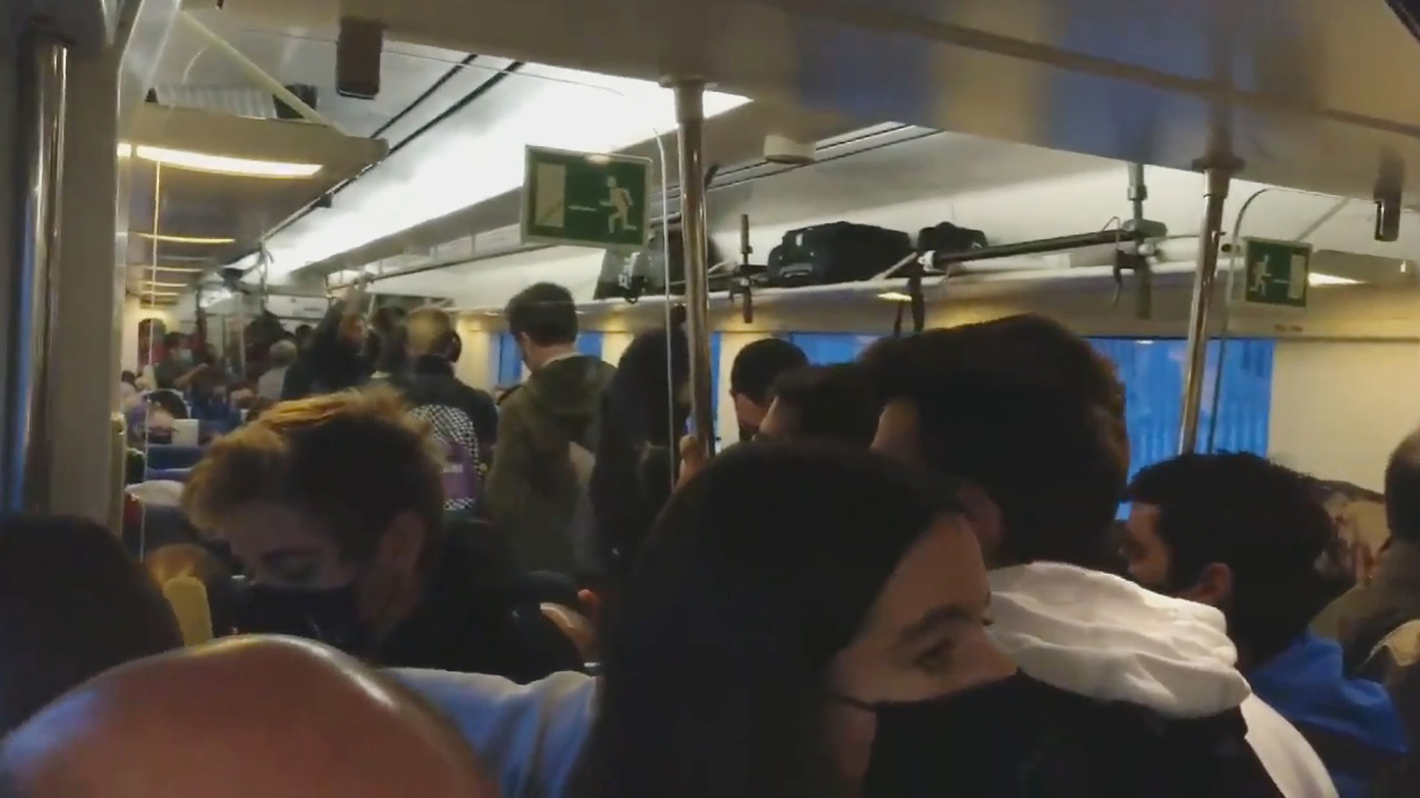 Outrage Over Crowded Train During First Day Of Catalonia's Lockdown