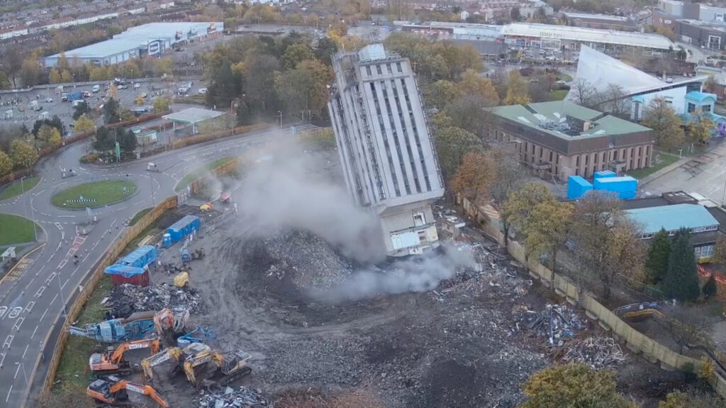 Drone shot of the demolition of former Wrexham police station . (Newsflash)