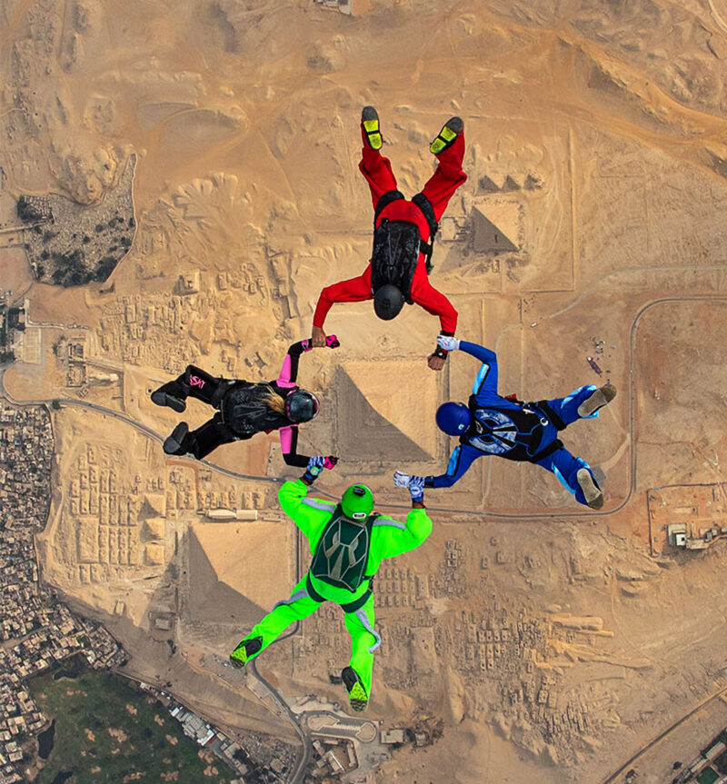 Site To Behold: Skydivers Glide Above Giza Pyramids