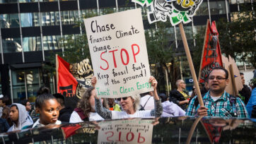 Environmental Activists Demonstrate Against Chase Bank's Financial Ties To Fossil Fuel Industry