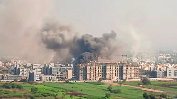 An aerial view of the fire that broke out at Serum Institute of India, Pune, on Jan 21. (Saptak Datta_Zenger News)