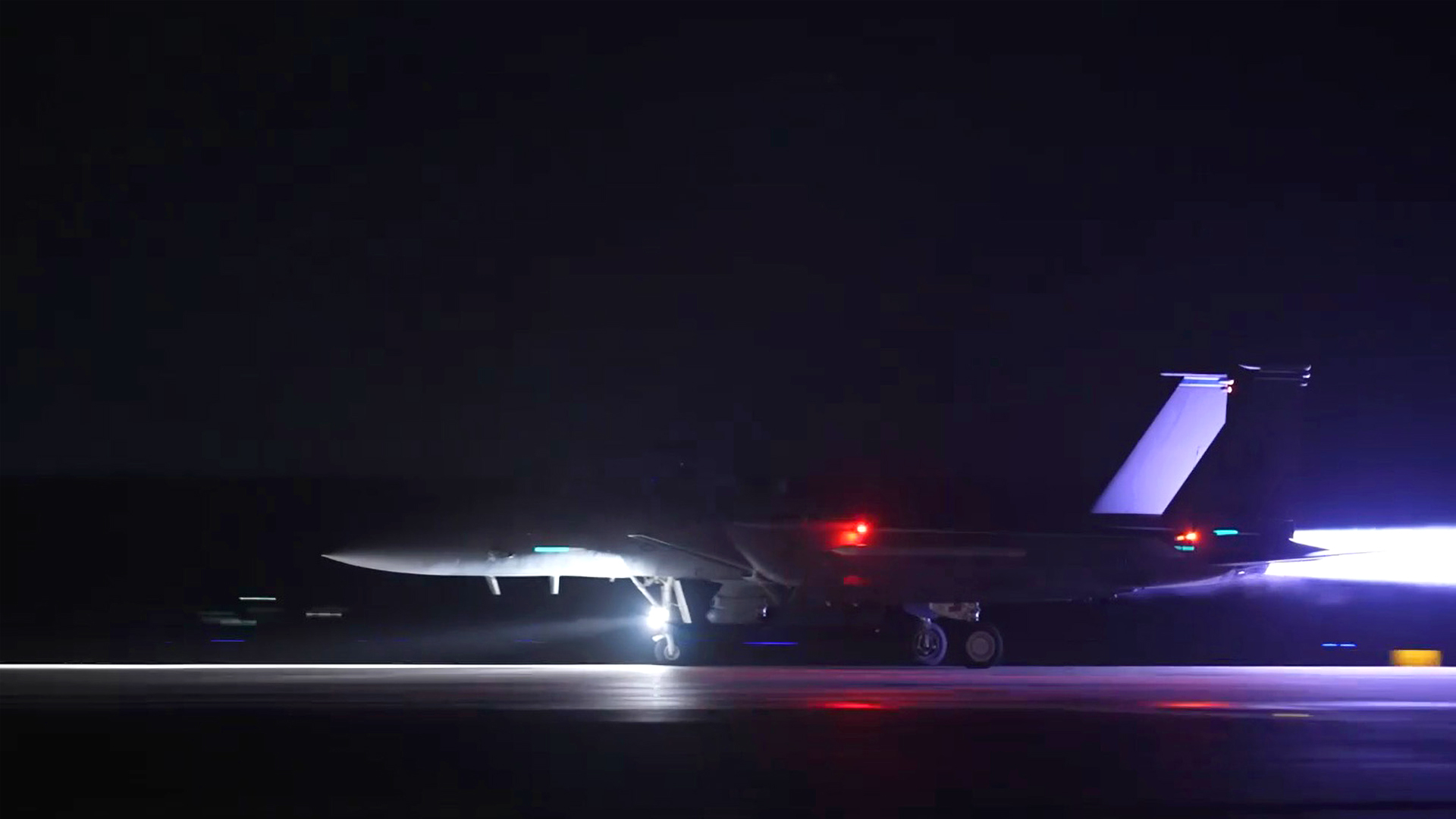VIDEO: US F-15 Fighter Jet Lights Up Suffolk Runway For Night Operation
