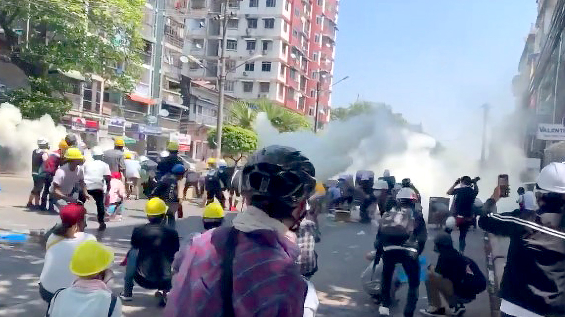 VIDEO: Tear Gas Rains On Anti-Coup Protesters In Myanmar As 38 Killed