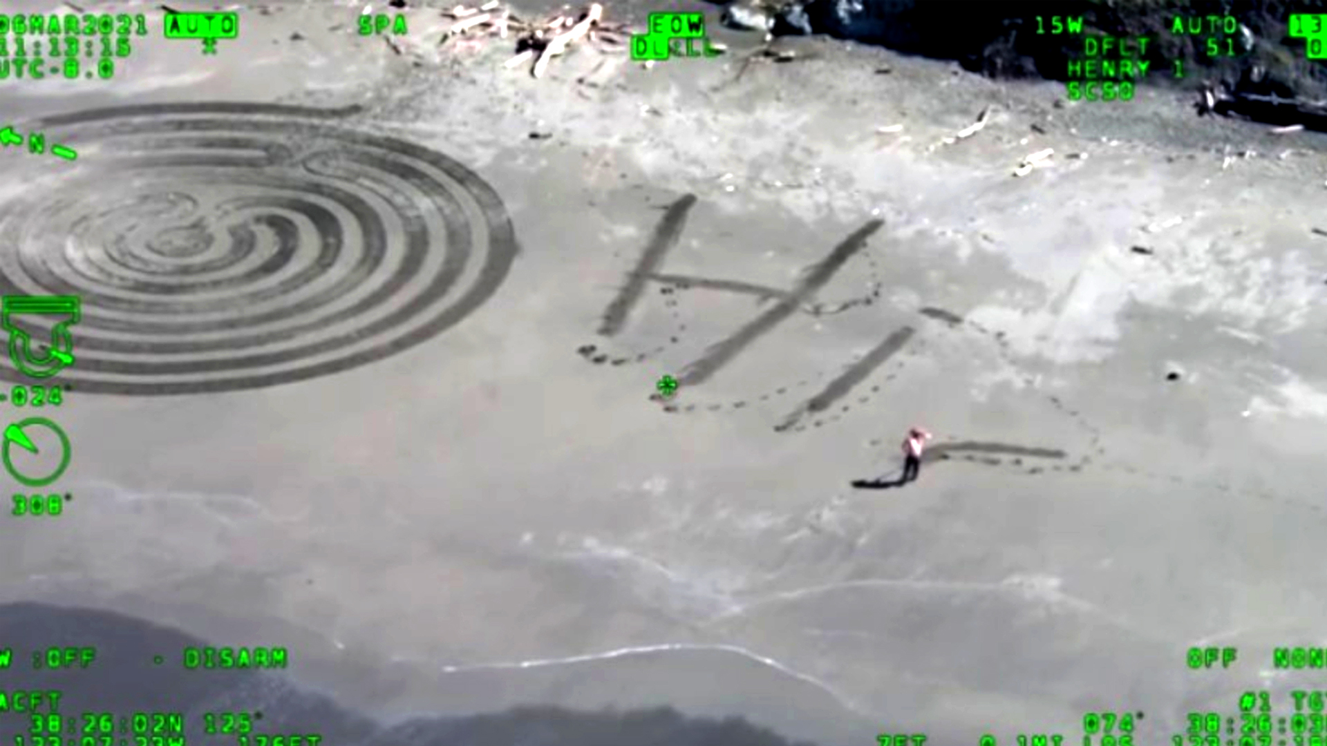 Sonoma Sheriff Helicopter Crew Greeted By Lovely Message Man Writes Out In Sand