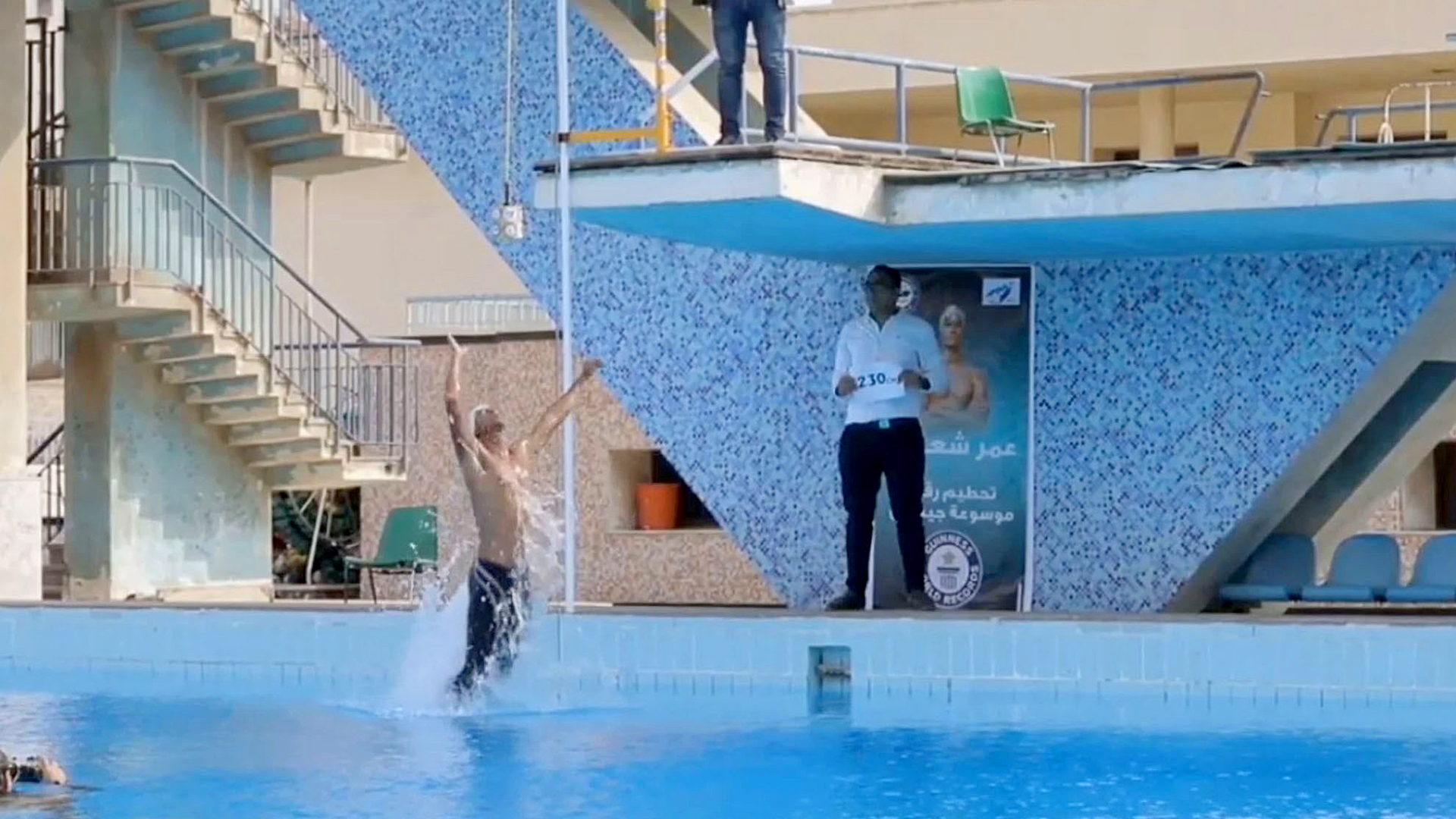 VIDEO: Moment Egyptian Swimmer Breaks Guinness World Record For Highest Jump Out Of Water