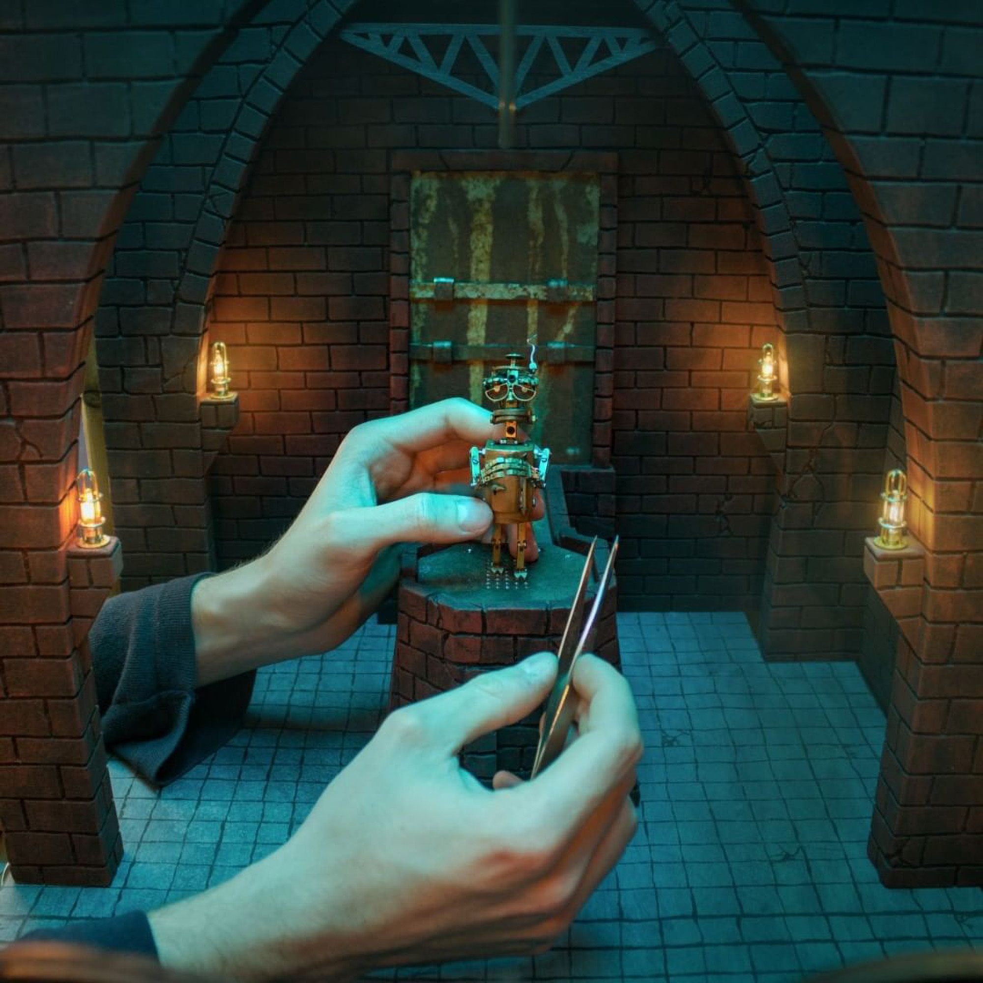 <p>Minute movements are set by hand and then photographed for Valentin Felder's stop-motion movie. (Valentin Felder/Zenger News)</p>