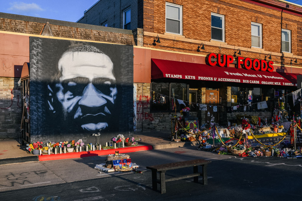 <p>A mural of George Floyd is shown in the intersection of 38th St & Chicago Ave in Minneapolis, Minnesota. Former Minneapolis police officer Derek Chauvin, was found guilty on Tuesday of multiple counts of murder in the death of George Floyd. (Brandon Bell/Getty Images)</p>