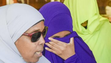 A court will consider new restrictions on Zainab Abdirahman-Khalif (centre) when released from jail.