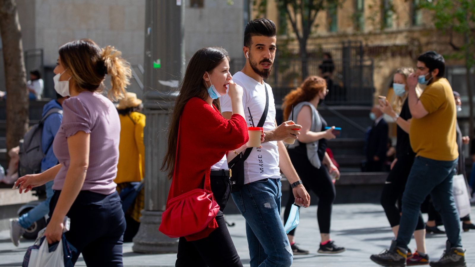 <p>People with and without face masks walk in Jerusalem's city center. Restrictions have been lifed as country claims herd immunity. (Olivier Fitoussi/Flash90)</p>