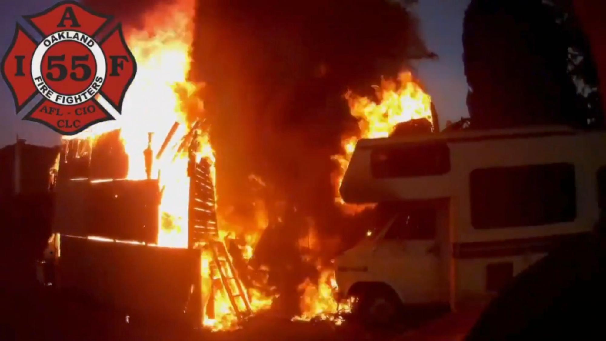 VIDEO: Oakland Firefighters Battle RV Blaze