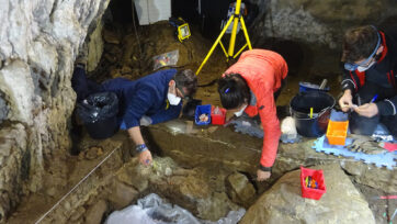Members of the research team in the Isturitz cave in southern France in April. (UPH-EHU/Real Press)