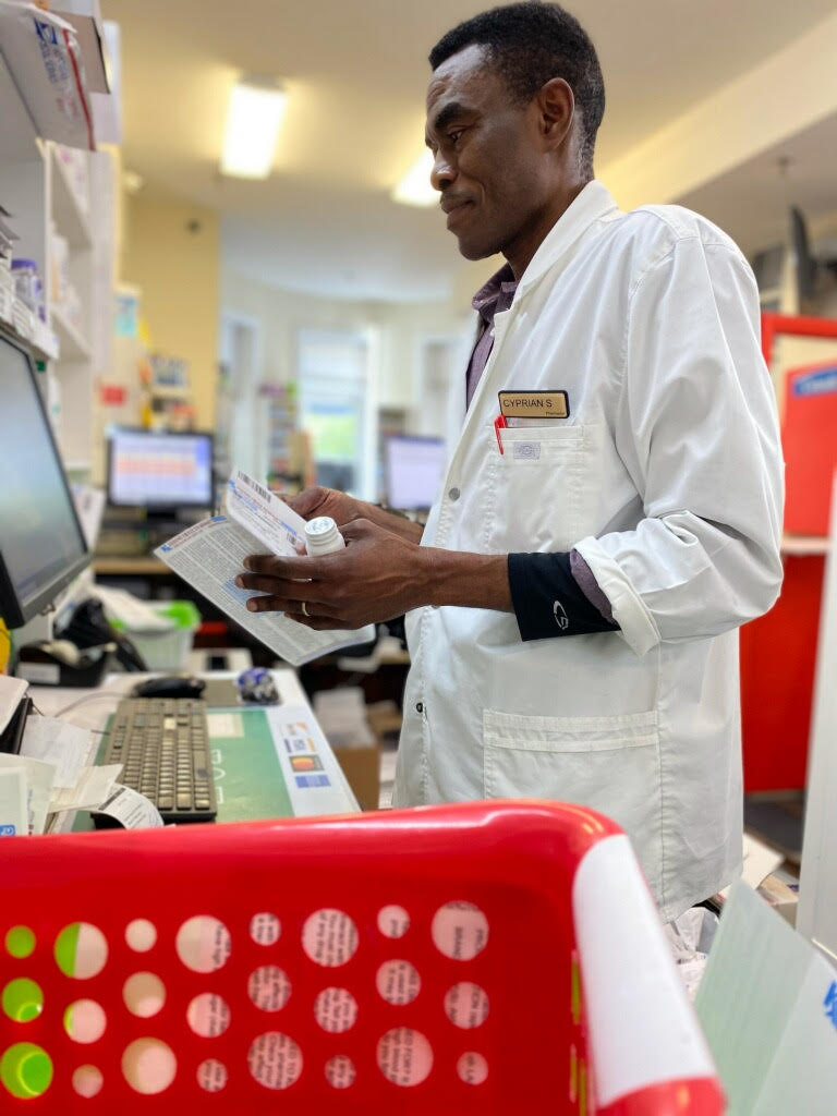 <p>Cyprian Sabah (pictured) and his partner Alfred Addico spend part of their day delivering prescriptions to customers around Washington, D.C. (Courtesy of Cyprian Sabah)</p>