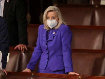 U.S. House Republican Conference Chairperson Rep. Liz Cheney (R-Wyo.) waits for U.S. President Joseph R. Biden Jr. to deliver his address to a joint session of Congress on April 28 (Jonathan Ernst-Pool/Getty Images)