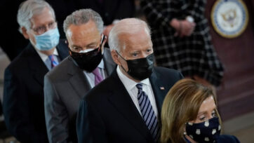 From back to front: Senate Minority Leader Mitch McConnell (R-Ky.), Senate Majority Leader Chuck Schumer (D-N.Y.), President Joseph R. Biden, Jr. and House Speaker Nancy Pelosi (D-Calif.) attend a memorial service for the late U.S. Capitol Police officer William Billy Evans on April 13, 2021 in Washington, D.C. (Drew Angerer/Getty Images)