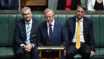 Opposition Leader Anthony Albanese makes his budget reply speech in the House of Representatives.