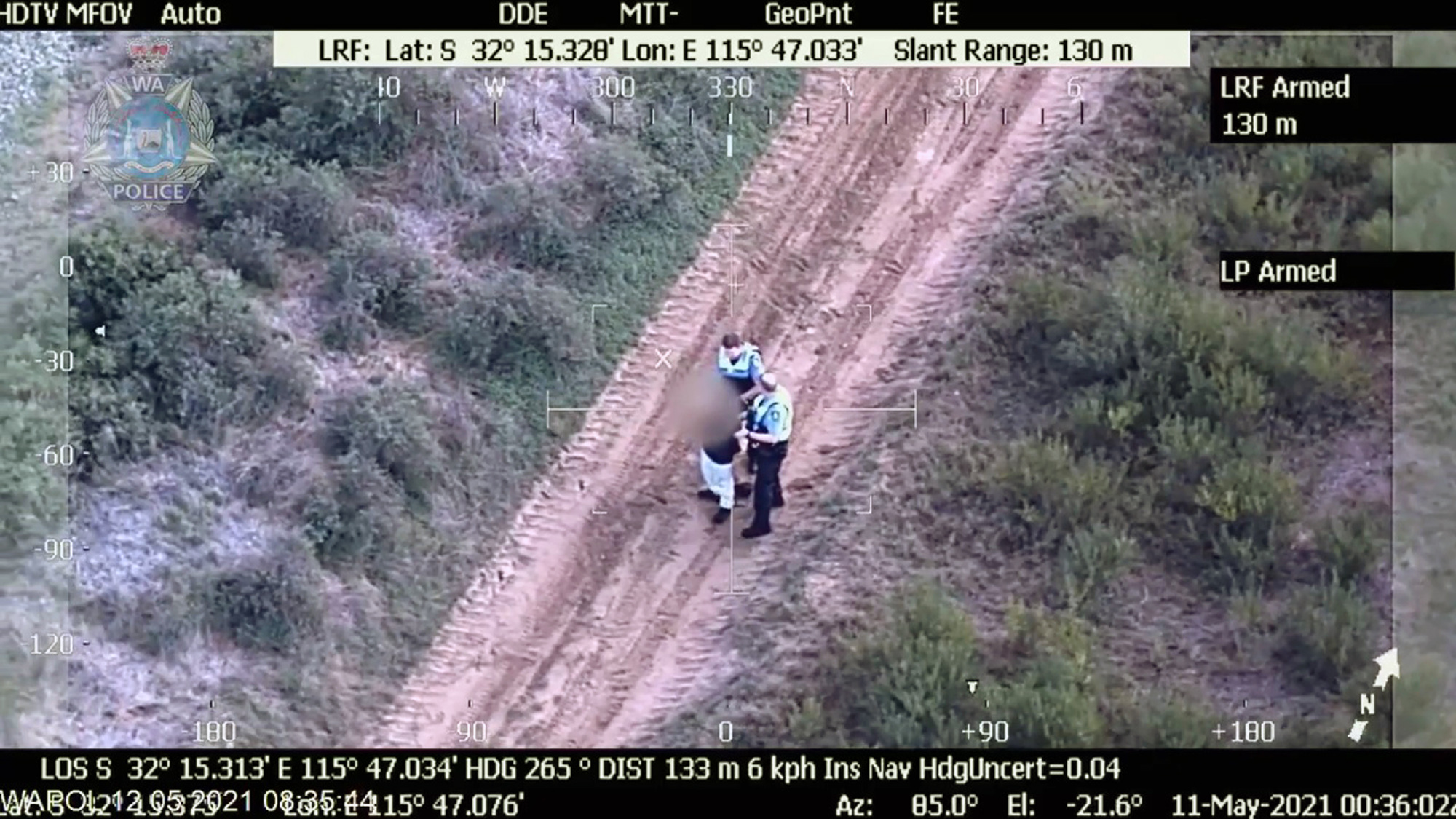 <p>A suspect was arrested after a police chase in Rockingham, Western Australia on May 12, 2021. (Western Australia Police/Zenger News)</p>
