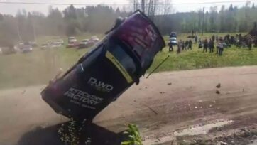Spectators at a rally in Russia narrowly escaped injury after driver Oleg Lozinskiy's car took off. (Oleg Lozinskiy/Zenger News)