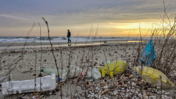 Used plastic bottles washed up on the Black Sea's beaches after flowing through several countries along the River Tisza. (Courtesy of Dimitry Ljasuk/Zenger News)