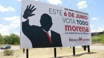 Muchos candidatos de las elecciones intermediarias en México no presentan su rostro en su publicidad, sino una referencia al partido. Aquí, se hace referencia al presidente Andrés Manuel López Obrador, considerado el lider del partido Morena. (La Silla Rota)