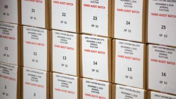 Boletas electorales del condado de Maricopa, Arizona, el 31 de octubre de 2020. Los recuentos no han cambiado el resultado de la elección. La última táctica de los republicanos para llamar la atención sobre supuestas fallas en el sistema es una auditoría de los votantes. (Courtney Pedroza/Getty Images)