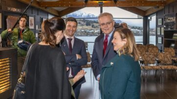 Scott Morrison and wife Jenny chat to Jacinda Ardern and her partner Clarke Gayford in Queenstown.