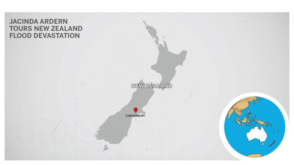 Map of Canterbury, New Zealand