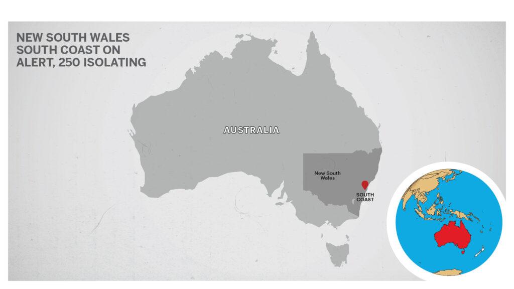 Map of South Coast, Australia.
