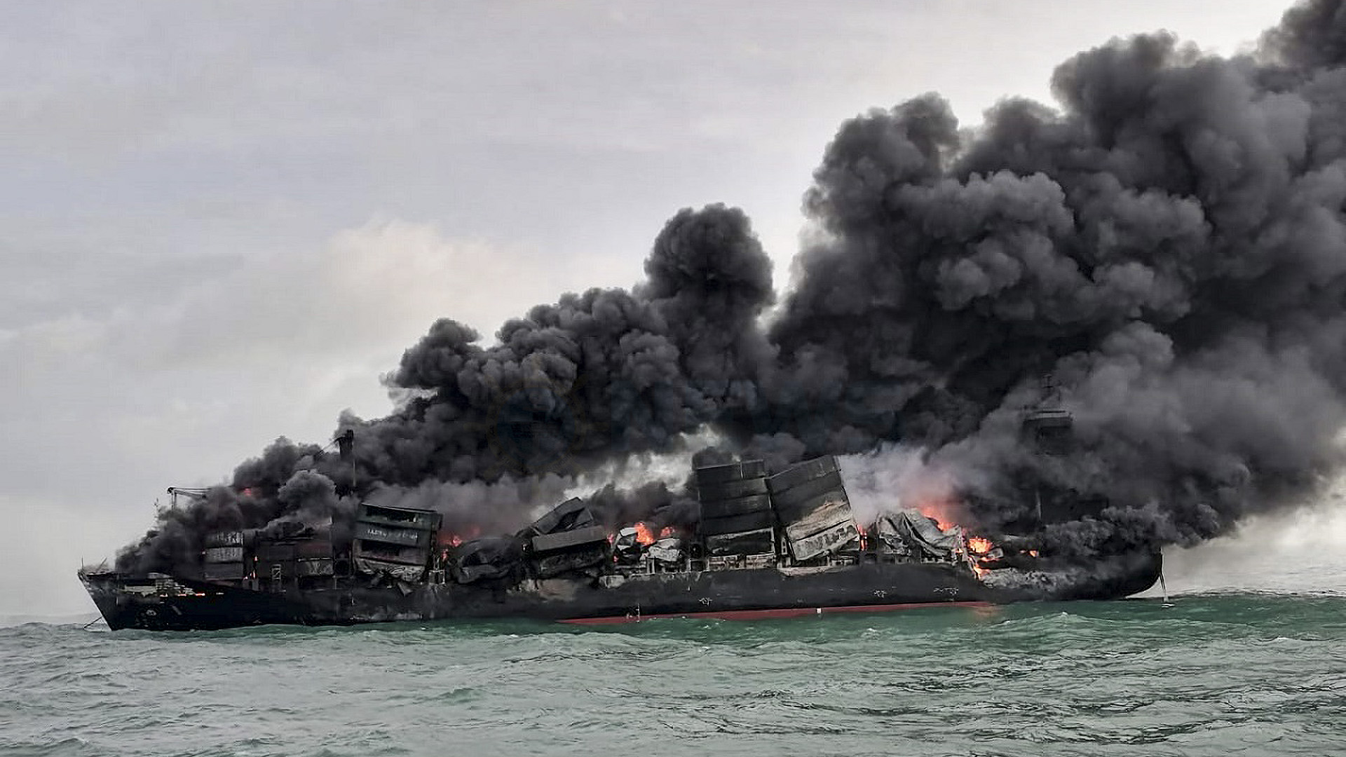 PHOTOS: Mystery Fire Sinks Toxic Cargo Ship, Risking Marine Life In Sri Lanka