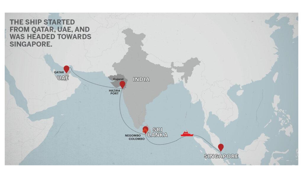 Map of UAE India Sri lanka Singapore