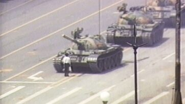 """A lone Chinese demonstrator (also known as """"Tank Man"""") stands down a column of tanks June 5, 1989 at the entrance to Tiananmen Square in Beijing, China. The incident took place on the morning after Chinese troops fired upon pro-democracy students who had been protesting in the square since April 15, 1989. Last Friday, on the 32nd anniversary of Tiananmen Square, images and videos of """"Tank Man"""" were taken down worldwide from Bing, Microsoft's search engine. Later, a Microsoft (a href='https://money.cnn.com/quote/quote.html?symb=MSFT&source=story_quote_link'MSFT/a) spokesman said they were taken offline """"by mistake"""" attributing the removal to 'human error.' The images reappeared on Saturday globally outside of China. (Photo by CNN via Getty Images)"""