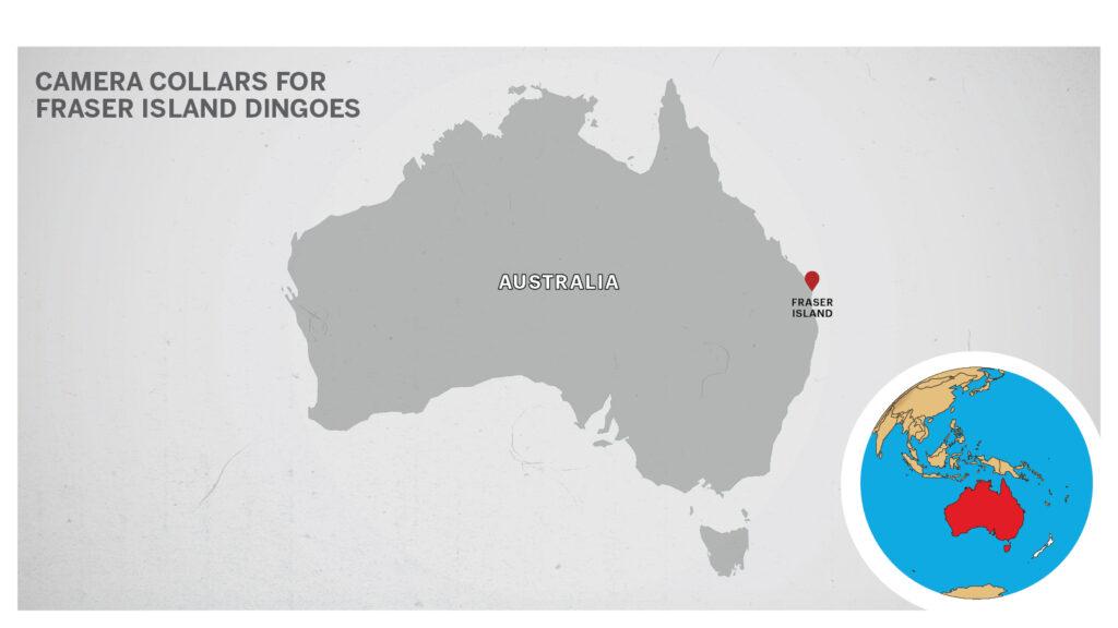 Map of Fraser Island, Australia.