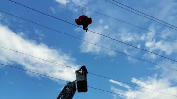 A paraglider was rescued after being caught in power lines on June 8 in Romania. (Inspectorate for Emergency Situations/Zenger News)