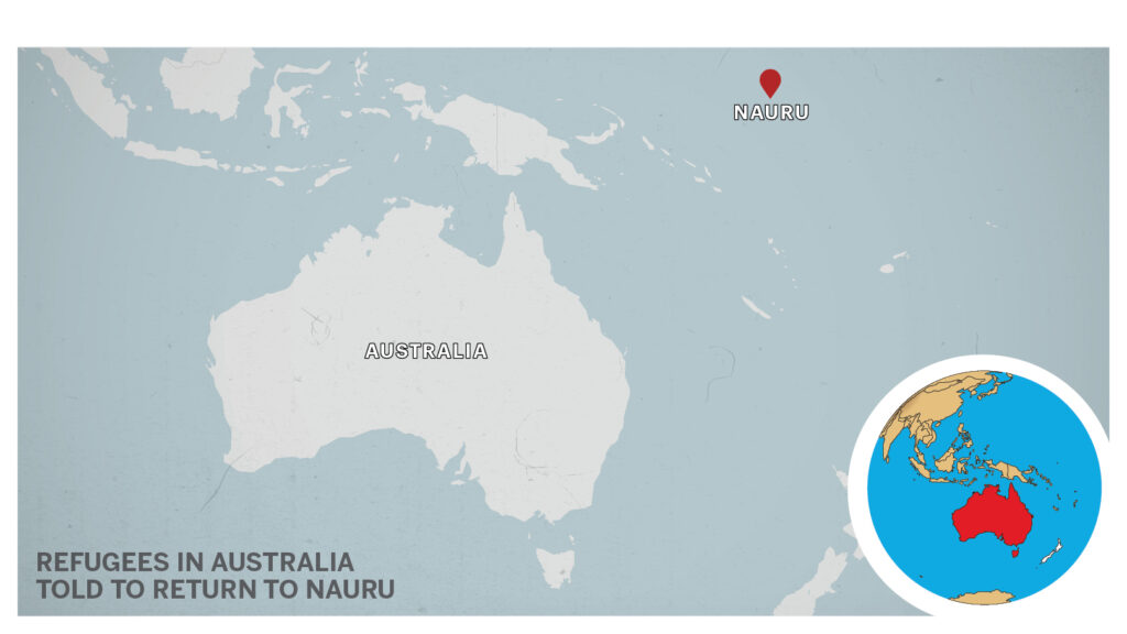 Map of Nauru, Australia.