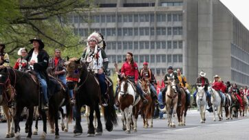 The developer behind the Keystone XL pipeline officially canceled the project yesterday. On April 22, 2014, Members of the Cowboy Indian Alliance, including Native Americans, farmers and ranchers from across the United States, ride horseback down Independence Avenue as part of a demonstration against the proposed Keystone XL pipeline in Washington, DC. (Photo by Chip Somodevilla/Getty Images)