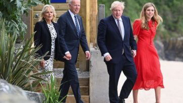 Britain's Prime Minister Boris Johnson, his wife Carrie Johnson and U.S. President Joe Biden with First Lady Jill Biden walk outside Carbis Bay Hotel, on June 10, 2021 near St Ives, England. UK Prime Minister, Boris Johnson, will host leaders from the USA, Japan, Germany, France, Italy and Canada at the G7 Summit that begins on Friday, June 11 2021. (Photo by Toby Melville - WPA Pool/Getty Images)