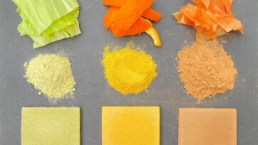 Three materials produced from cabbage, orange peel and onion skins have four times the strength of concrete. A range of natural colors can also be produced. (Kota Machida/Zenger News)