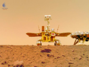 """The China National Space Administration (CNSA) released a series of photos from the surface of Mars, June 11, 2021 taken by Mars rover Zhurong. This photo of the Zhurong rover itself, also known as a """"selfie,"""" was taken from a wireless remote camera that was dropped into position by the rover. (China National Space Administration)"""