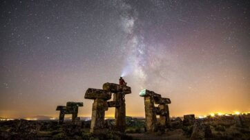 The sky and the Milky Way over the ancient city of Blaundus, Turkey, on June 4. (İsa Turan/Zenger News)
