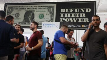 Cryptocurrencies provide users with an opportunity for empowerment and independence from nation-states. Many enthusiasts of these financial instruments attended the 2021 Bitcoin Convention, in Miami, Florida, on June 4. (Joe Raedle/Getty Images)