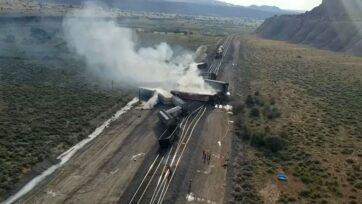 Derailed train in Laguna Pueblo, New Mexico on June 14, 2021. (@BCSONM/Zenger News)