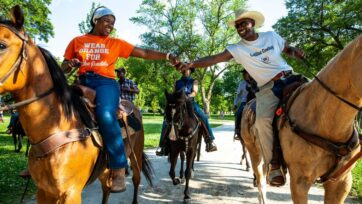 Black Chicagoan and Indiana horse owners ride through Washington Park on June 19, 2020 in Chicago, Illinois - Juneteenth. (Natasha Moustache/Getty Images)