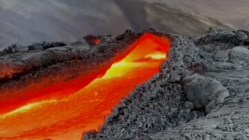 The lava river flowing at the Fagradalsfjall volcano on the Reykjanes Peninsula in Iceland on June 15, 2021. Note: This image is a screenshot from video. (Donatas Arlauskas/Zenger News)