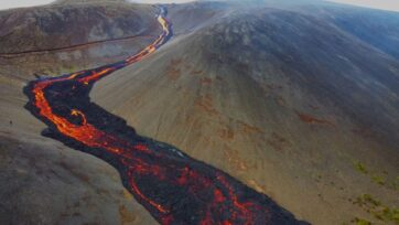 The lava river flowing at the Fagradalsfjall volcano on the Reykjanes Peninsula in Iceland on June 14, 2021. (Donatas Arlauskas/Zenger News)