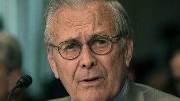 Donald Rumsfeld, former secretary of defense for Presidents Gerald R. Ford and George W. Bush, who presided over America's war strategies through the decades, died Tuesday at his home in Taos, N.M. He was 88 years old. (Photo by Mark Wilson/Getty Images)