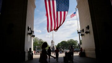 People arrive to Union Station on July 02, 2021 in Washington, DC. AAA predicts this years July 4th weekend will see up to 47.7 million Americans traveling between July 1st through July 5th, a 5% increase since 2019 and the busiest since the start of the coronavirus (COVID-19) pandemic. (Photo by Anna Moneymaker/Getty Images)