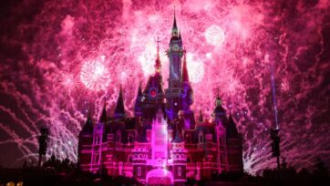 Fireworks explode over the Shanghai Disney Resort during the 5th anniversary celebration on June 15, 2021 in Shanghai, China. With the COVID-19 coronavirus pandemic battering the tourism industry throughout the globe, Shanghai Disney Resort witnessed the fastest recovery in the world. AAA predicts this years July 4th weekend will see up to 47.7 million Americans traveling between July 1st through July 5th, a 5% increase since 2019 and the busiest since the start of the coronavirus (COVID-19) pandemic. (Lintao Zhang/Getty Images)