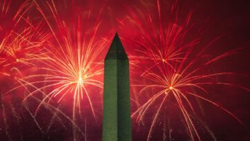 Fireworks go off near the Washington Monument on the National Mall on July 4, 2020 in Washington, DC. (Photo by Drew Angerer/Getty Images)