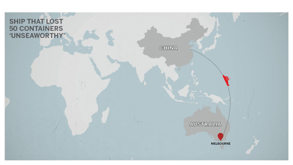 Map of China to Melbourne