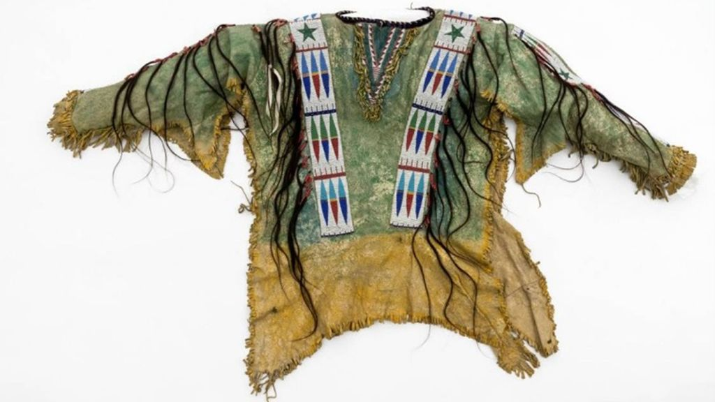 <p>Chief Hollow Horn Bear's shirt — a beaded leather shirt trimmed with locks of human hair — has been returned to his family. (Wolfgang Gunzel/Zenger)</p>